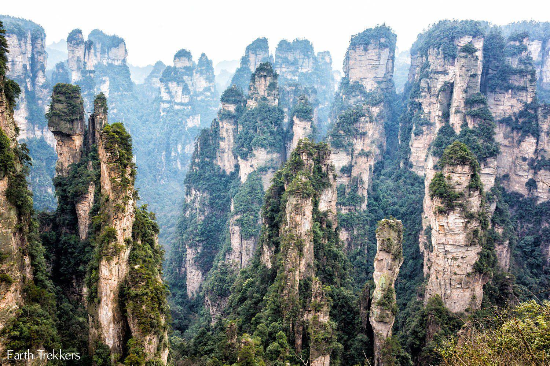 Zhangjiajie et ses superbes colonnes rocheuses!