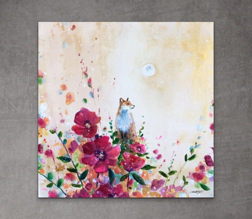 Des renards peints dans un beau décor fleuri