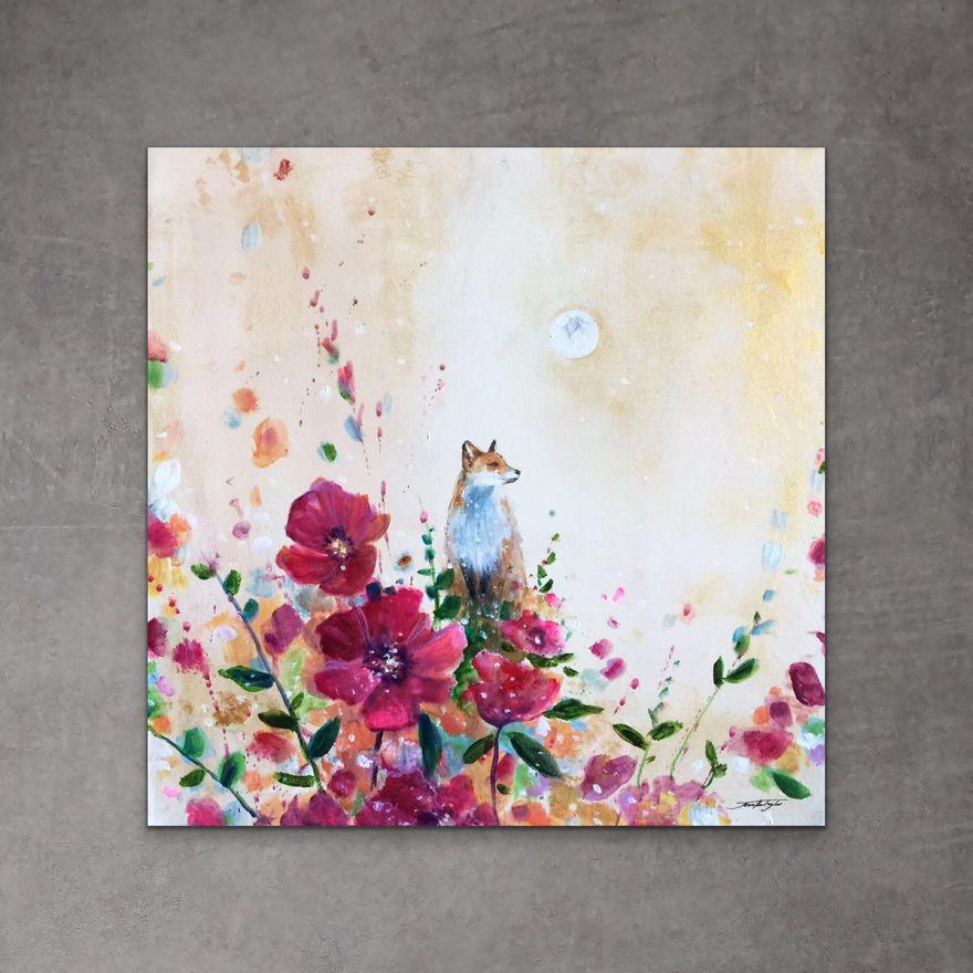 Des renards dans des tableaux fleuris et en couleur