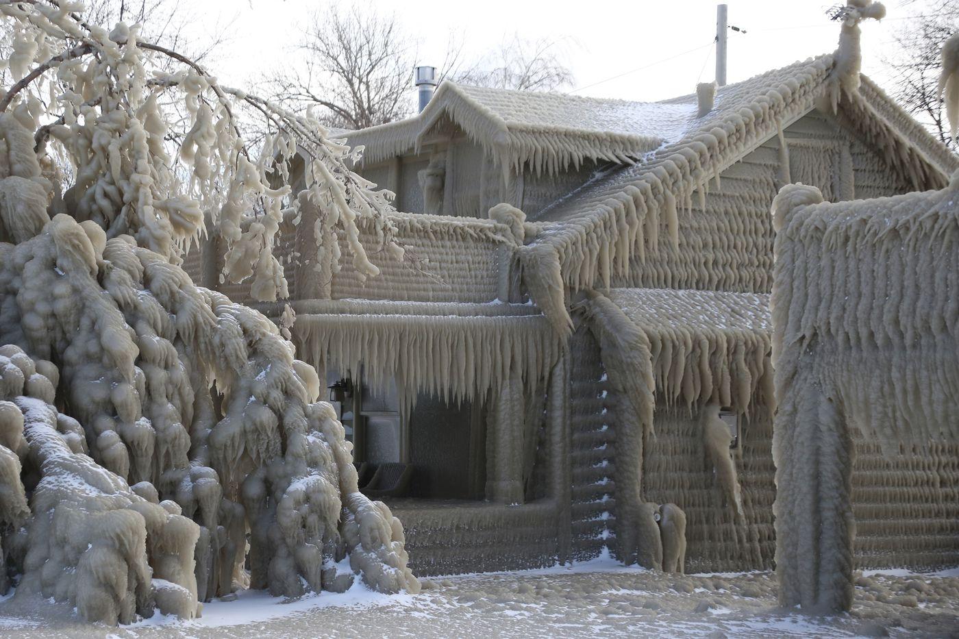 Les maisons de glace du lac Érié à New York USA